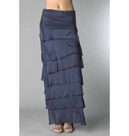 Navy Flutter Maxi Skirt