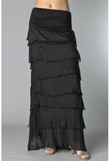 Black Flutter Maxi Skirt