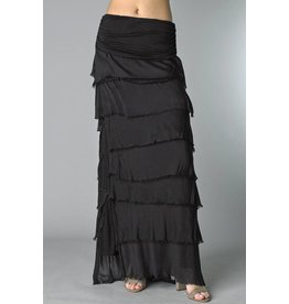 Black Flutter Maxi Skirt