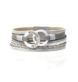 Sunrise USA Trading Double Hoop 6 Strand Bracelet Gray