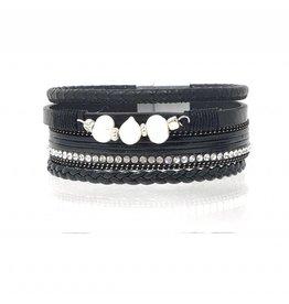 Sunrise USA Trading 3 Pearl X-Wide Bracelet Black