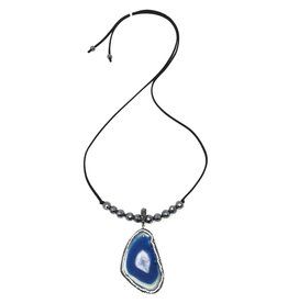 Suede, Hematite & Crystal Blue Agate Slice
