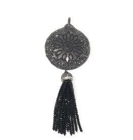 AF Design Group Black CZ & Leather Tassel Pendant