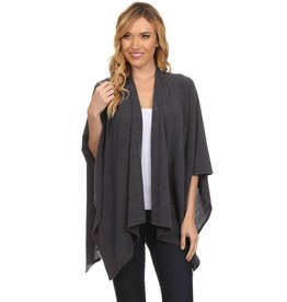 Charcoal Knit Cardigan Poncho