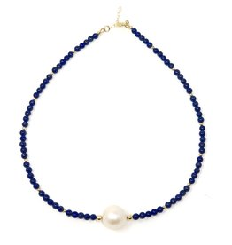 Baroque Pearl & Lapis Necklace