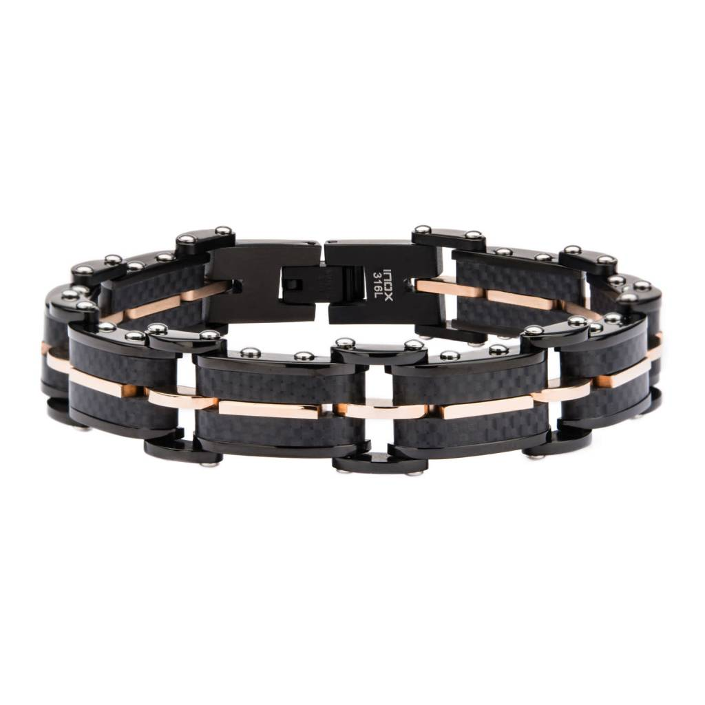 Inox Carbon Graphite Rose GP Link Bracelet