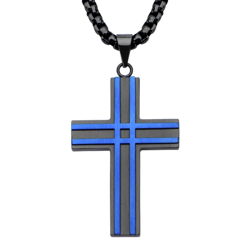 Inox Black & Blue Pltd. Cross Pendant w/Chain