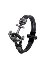 Inox Black Antiqued Mesh Anchor Bracelet