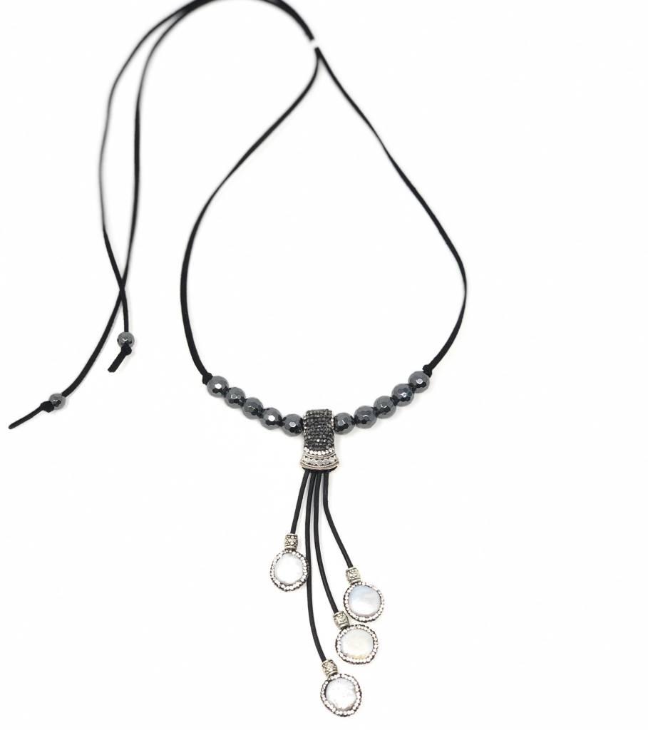 Pearl Tassel Pendant & Hematite on Suede