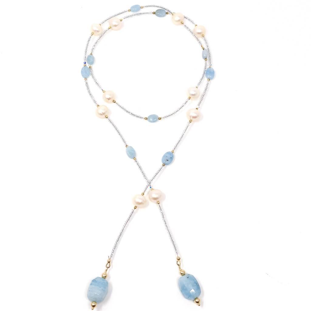 FWP, Aquamarine & Crystal Lariat