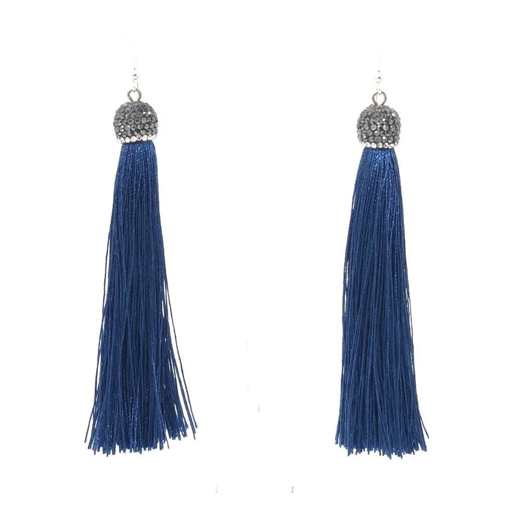 Pompano Bead Show Navy Long Silk Tassel Earrings