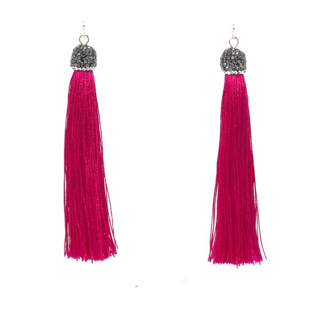 Pompano Bead Show Fuchsia Long Silk Tassel Earrings