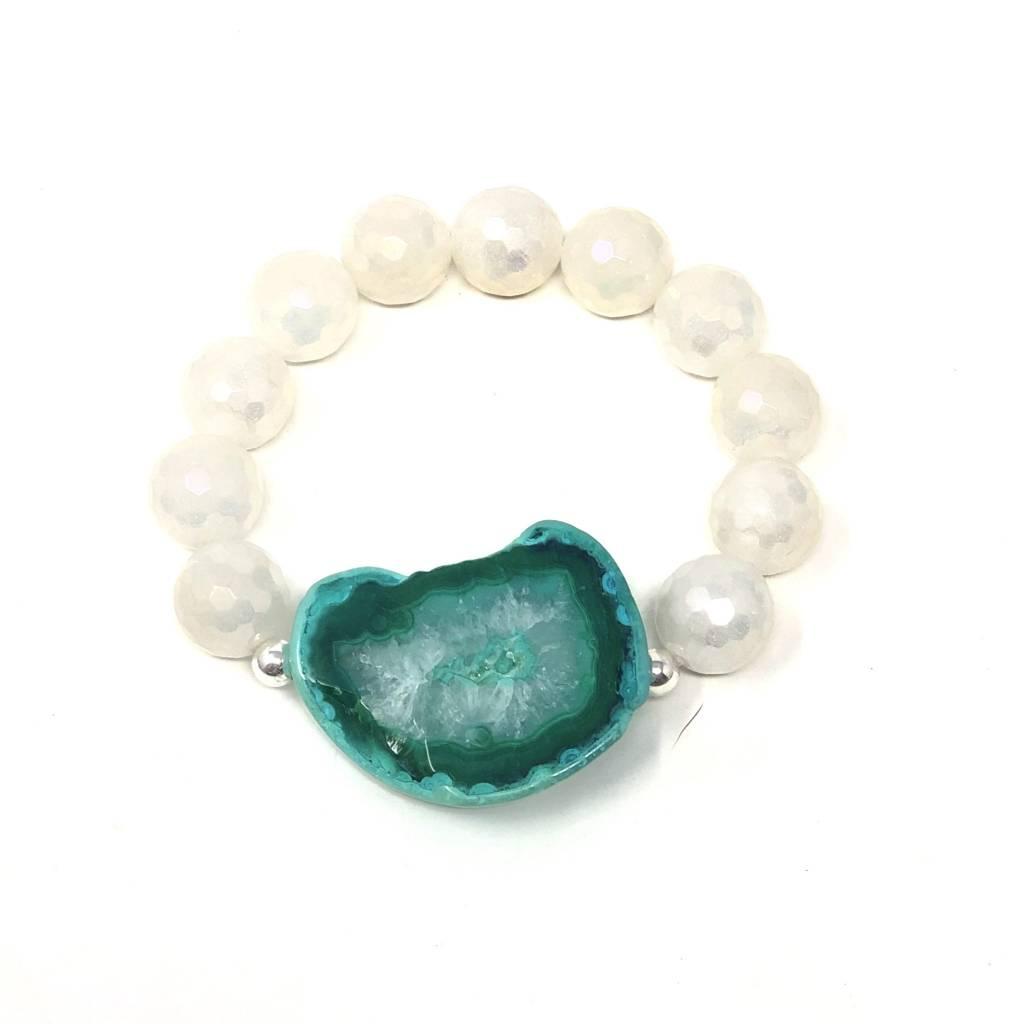 Teal Agate Slice & White Coated Agate Bracelet