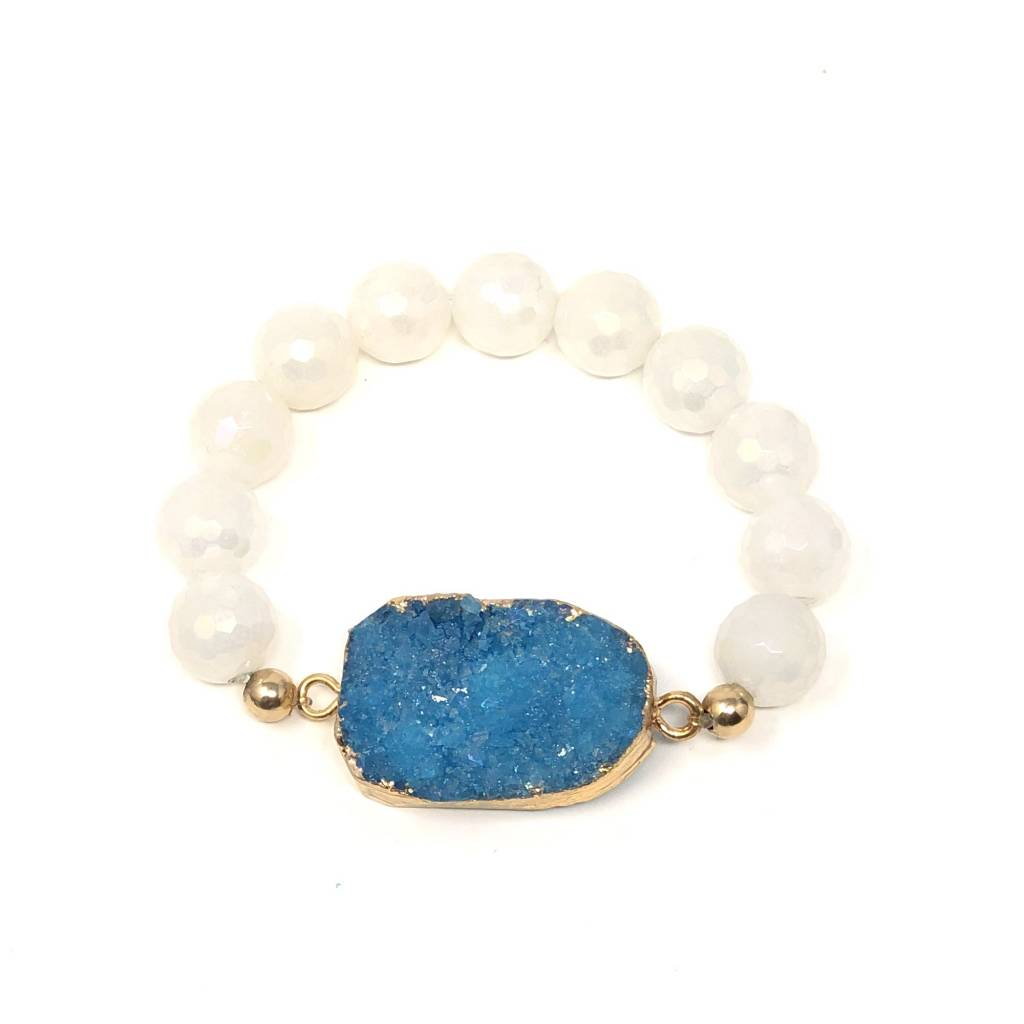Blue Druzy Agate & White Coated Agate Bracelet
