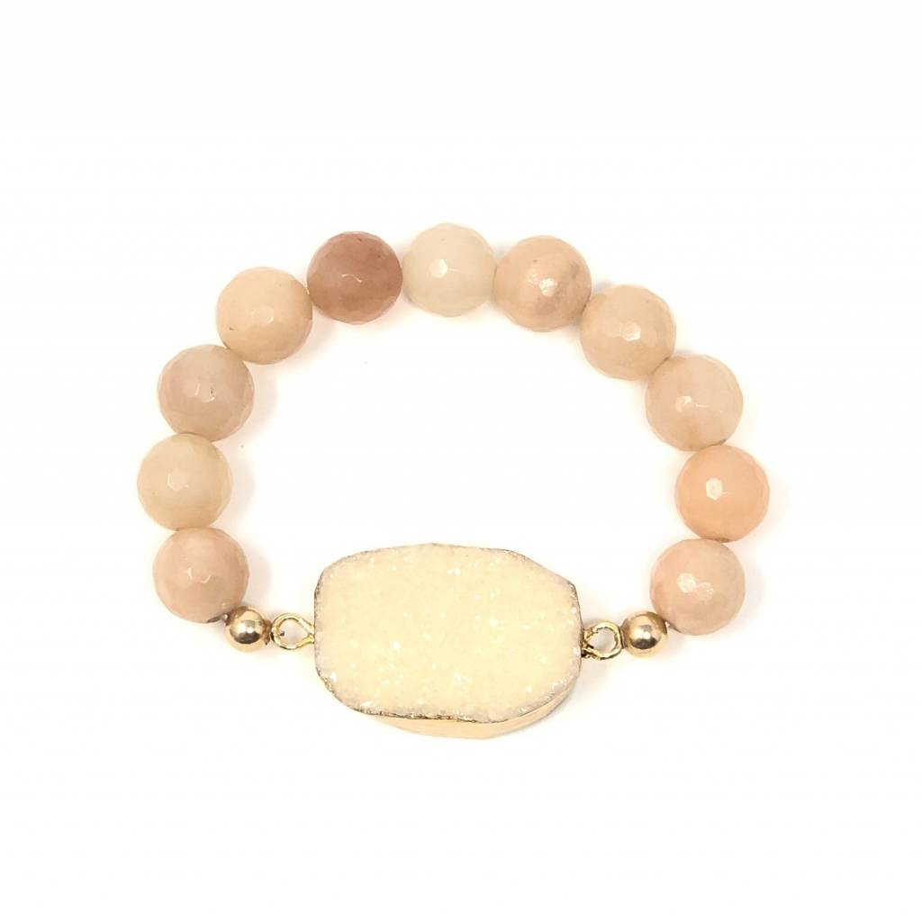 Peach Druzy Agate & Moostone Bracelet