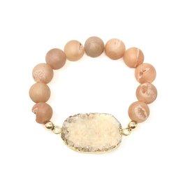 Peach Druzy Agate & Bracelet