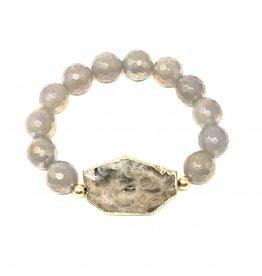 Jasper & Grey Coated Agate Bracelet