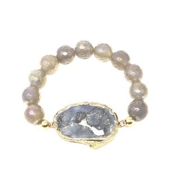 Grey Coated & Druzy Agate Bracelet