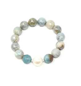 Coated FCT Amazonite & Pearl Bracelet