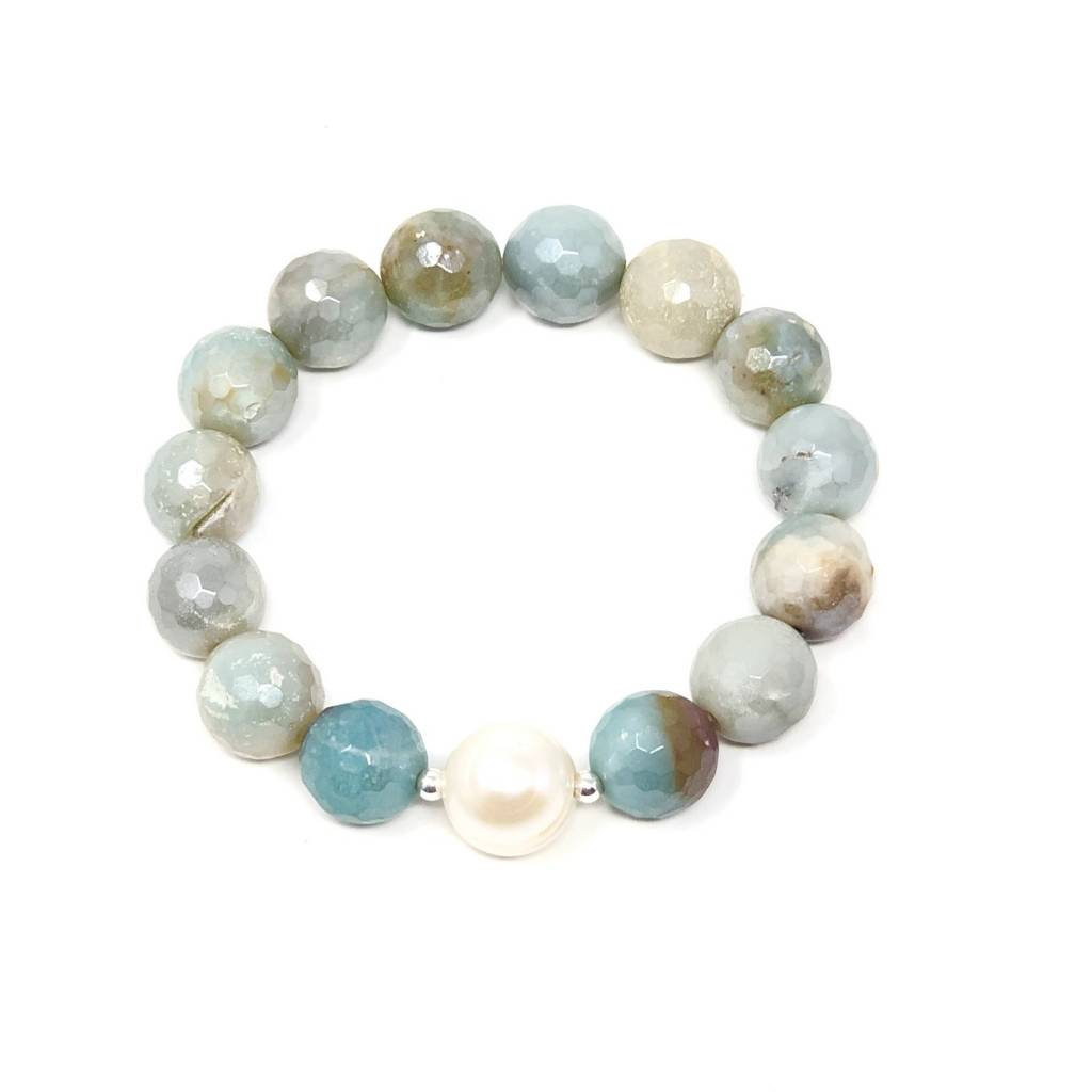 Coated FCT Amazonite & Pearl Bracelet