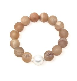 Peach Druzy Agate & Pearl Bracelet