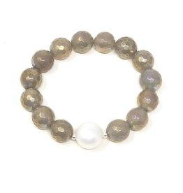 Lt. Grey Coated Agate & Pearl Bracelet