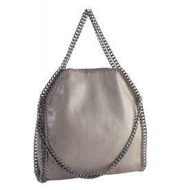 Grey Chain Trim Shoulder Bag