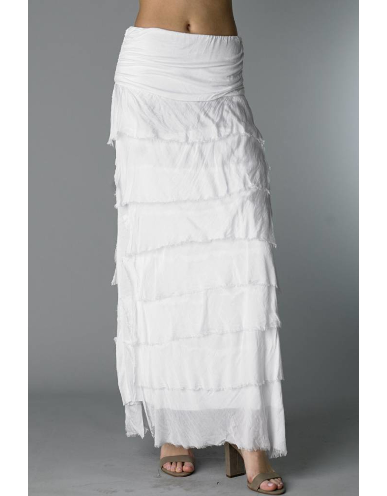 White Flutter Maxi Skirt