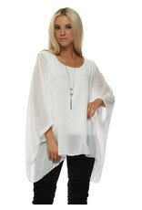 White Silk Sleeve Top