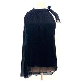 Black Silk Halter Tie Top