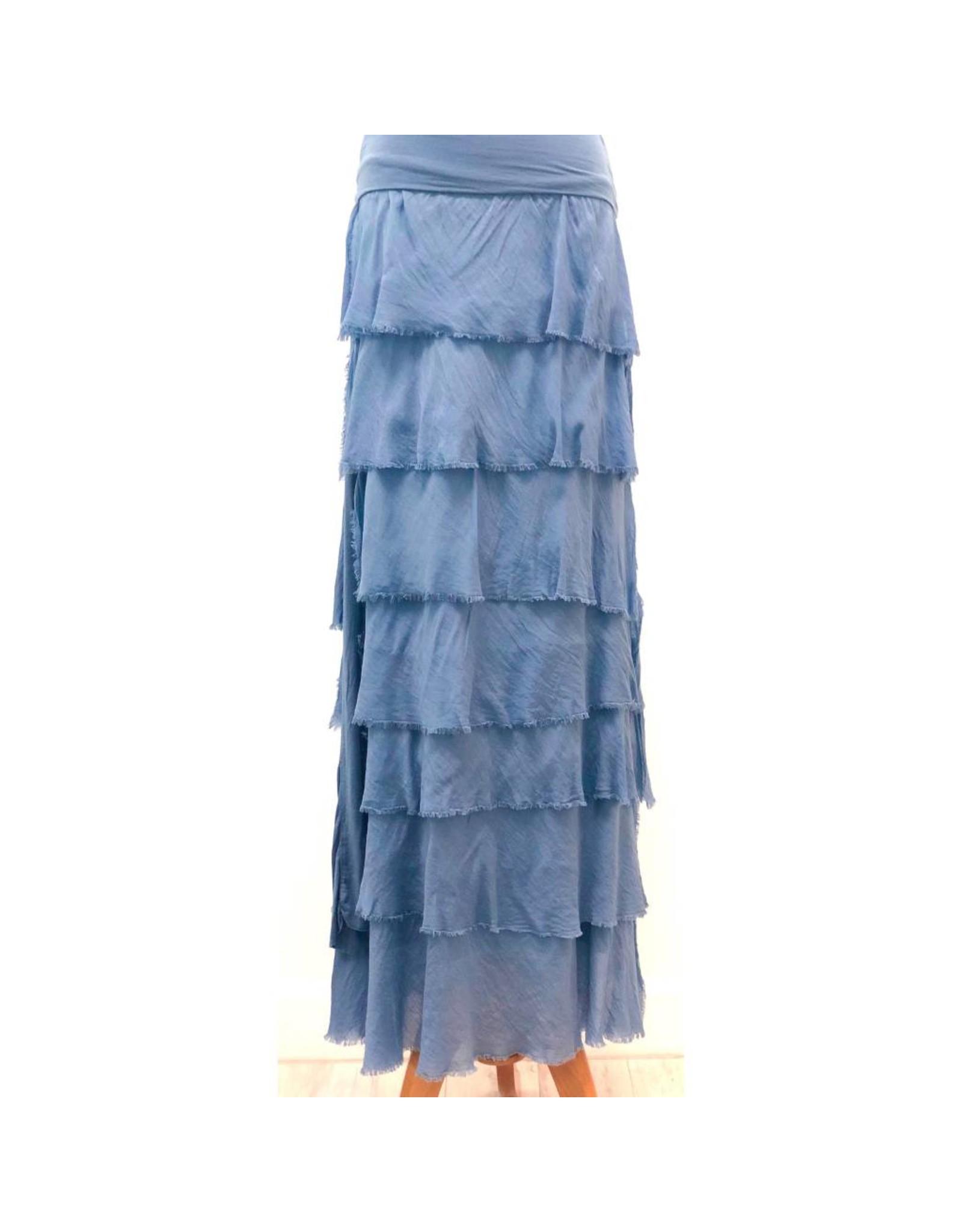 Denim Flutter Maxi Skirt