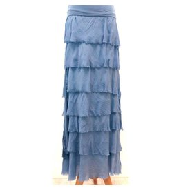 Denim Flutter Maxi Skirt