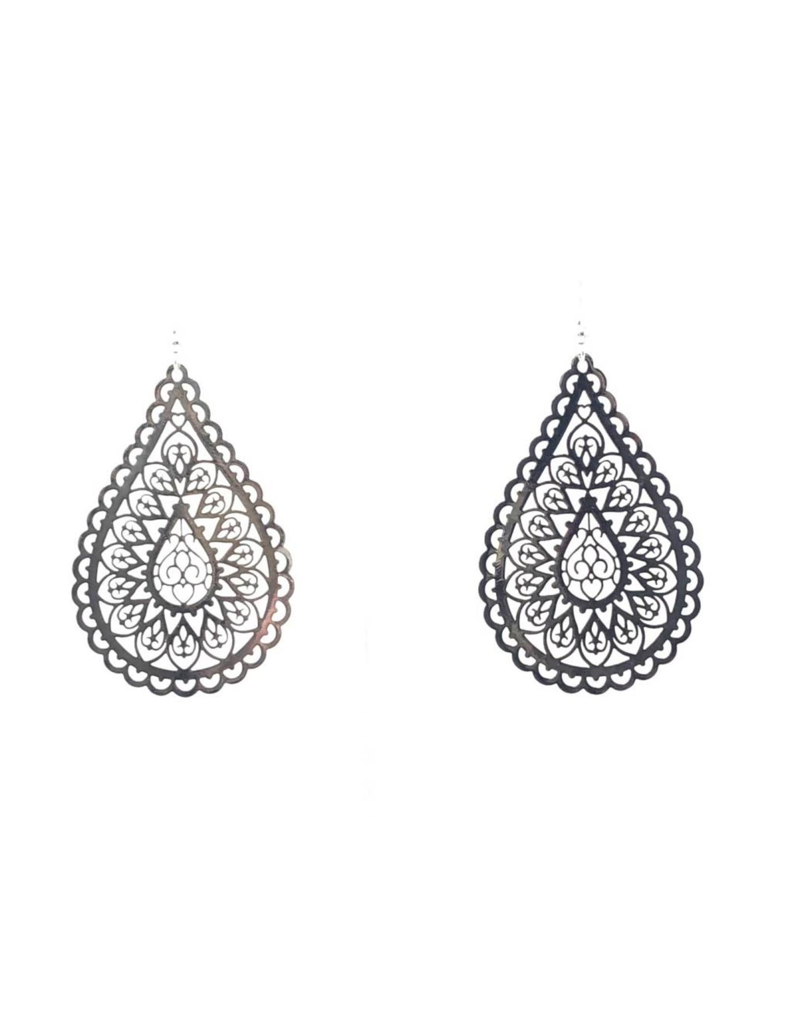 Silver Filigree Teardrop Earrings