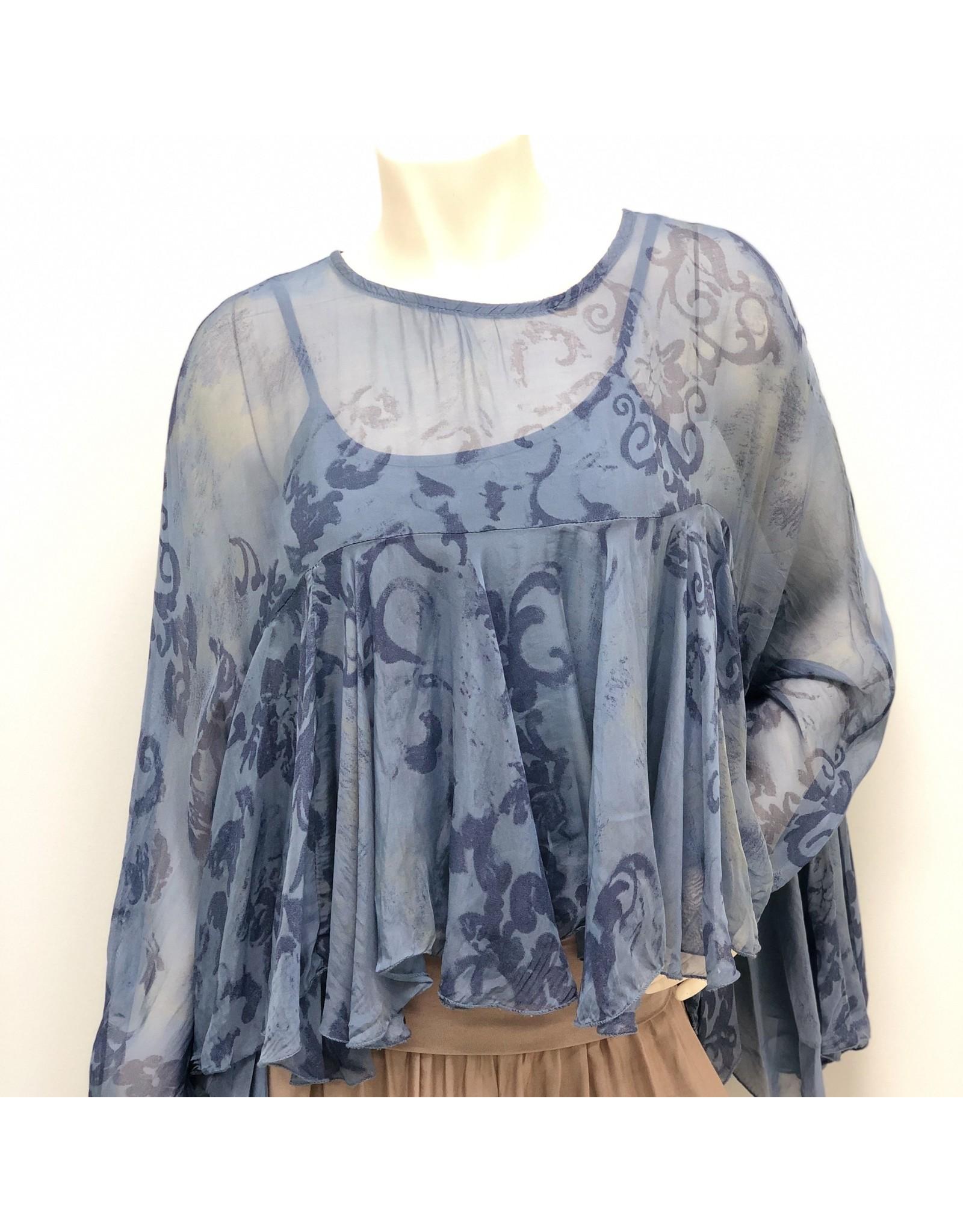 Blue Paisley Boho Silk Top