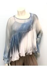 Steel Blue Tie Dye Boho Silk Top