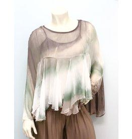 Sage Tie Dye Boho Silk Top