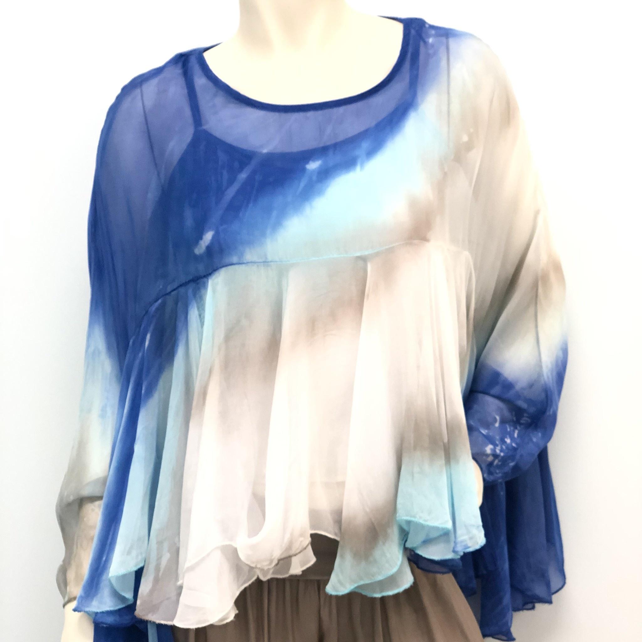 Royal Tie Dye Boho Silk Top