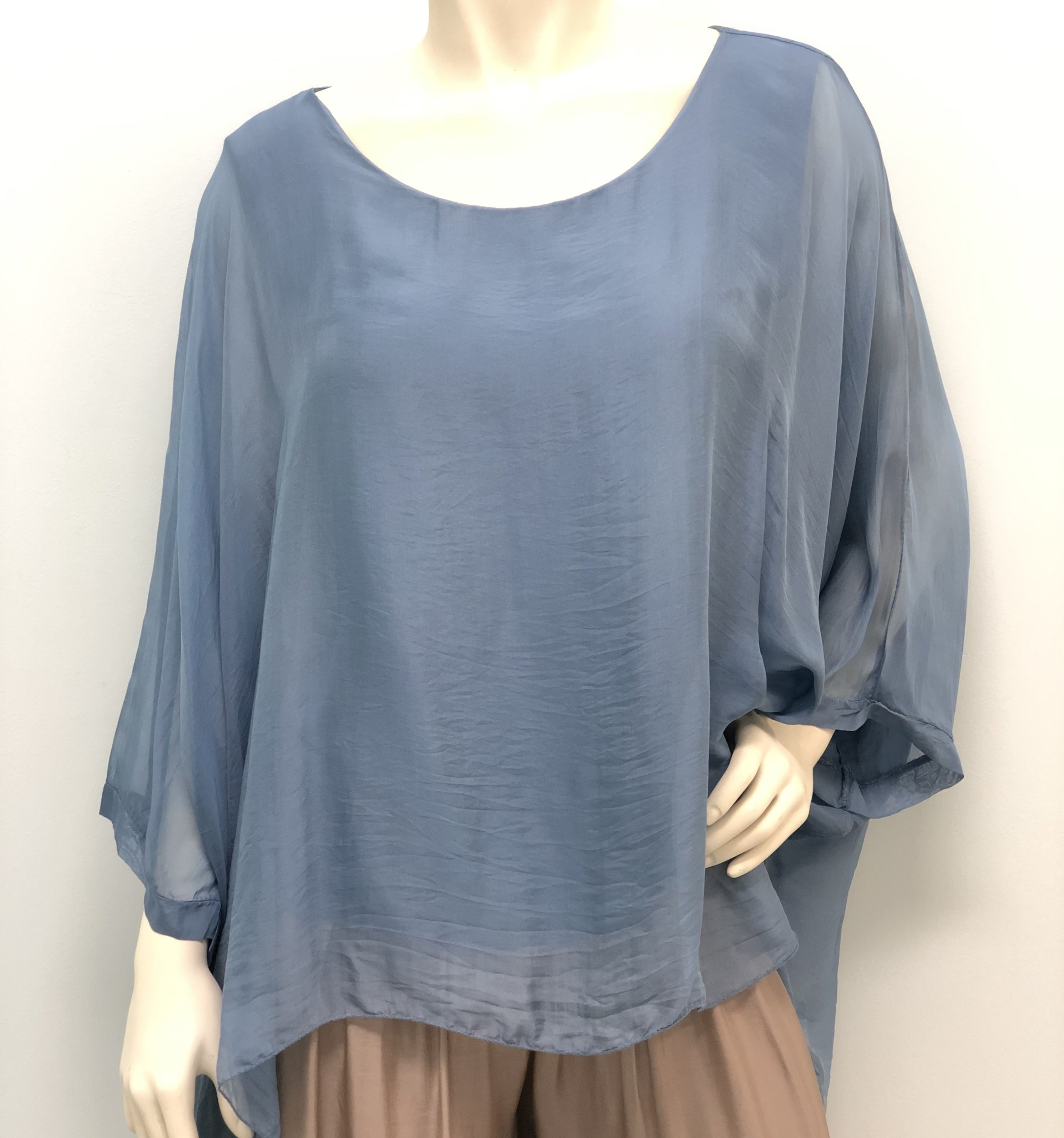 Steel Blue Silk Sleeve Top