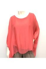 Coral Silk Sleeve Top