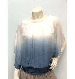 White/Steel Blue Ombre Silk Top