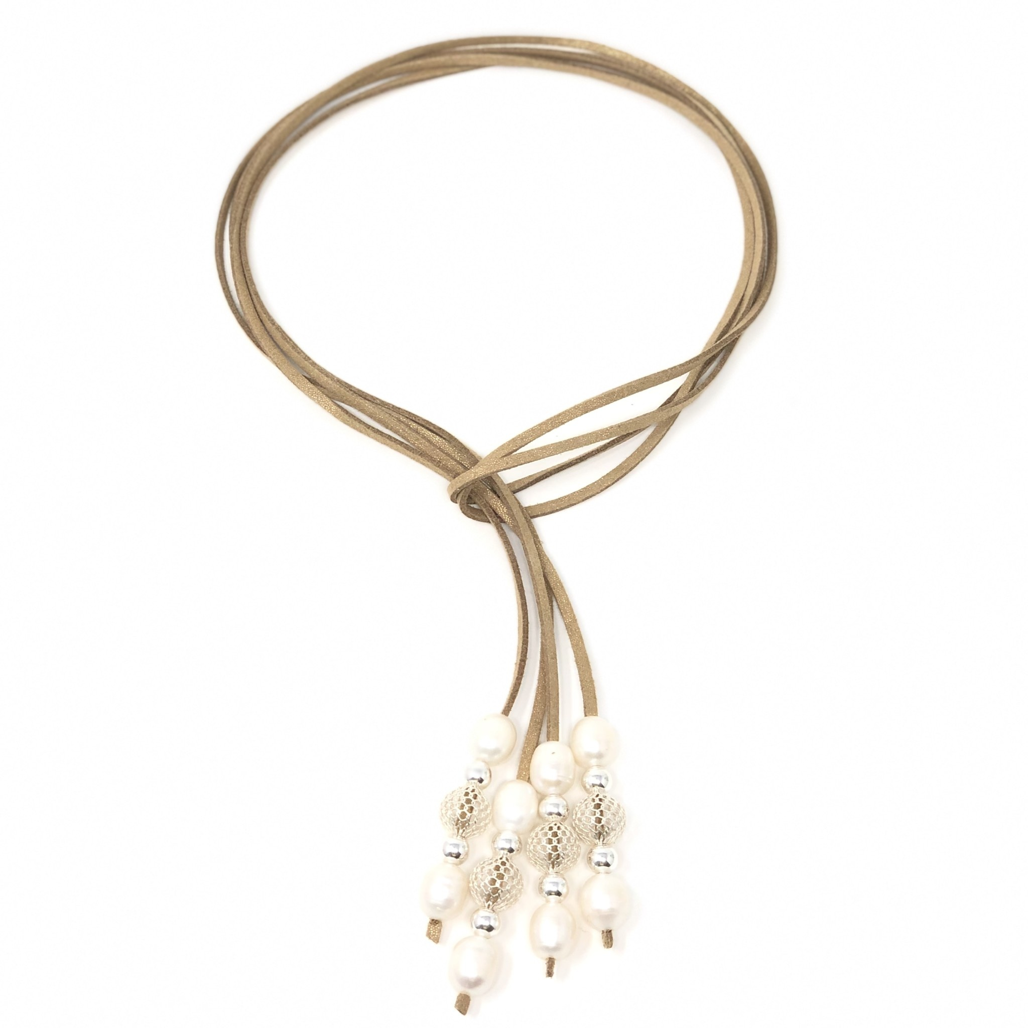 Pearl & Mesh Silver Gold Suede Lariat