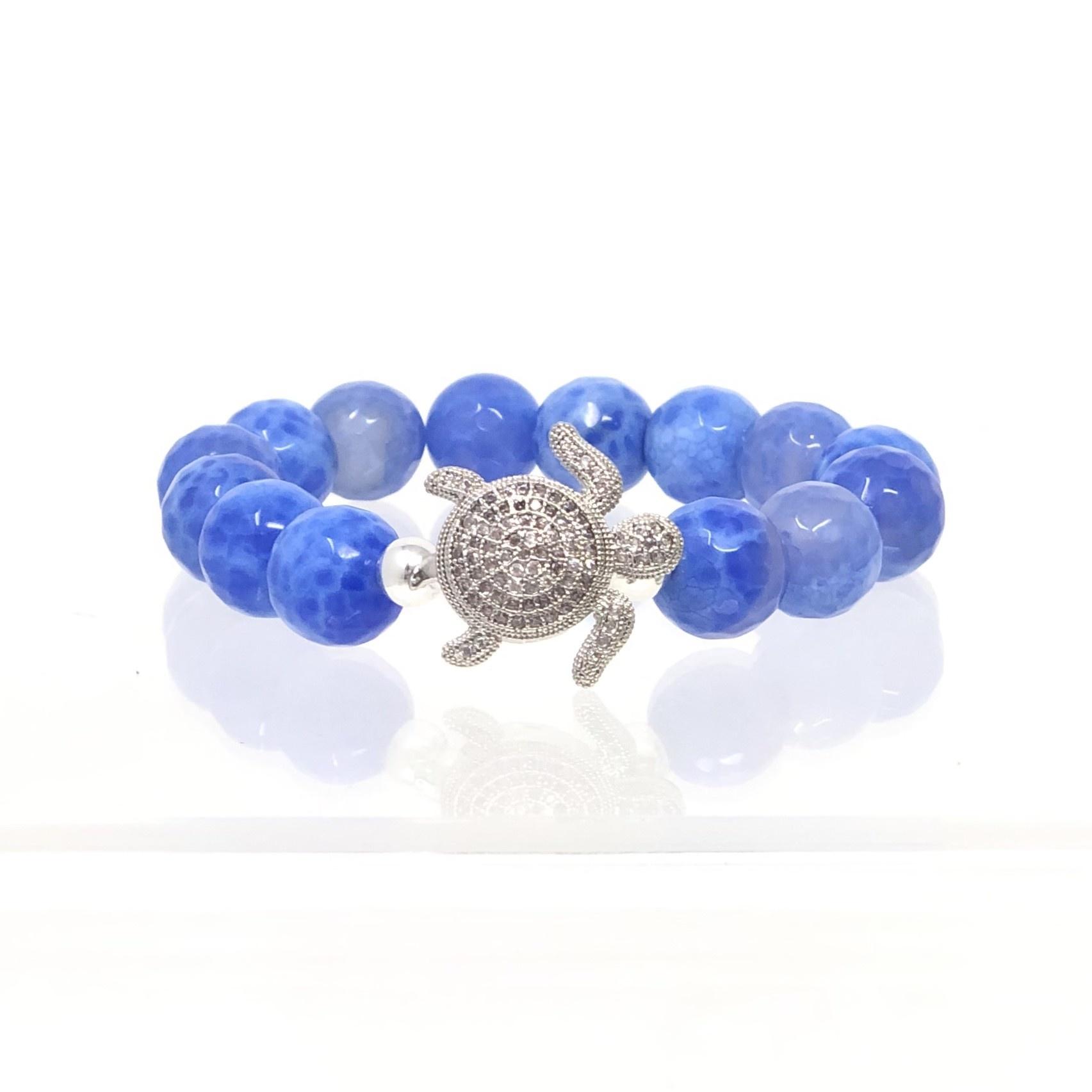 CZ Turtle & Periwinkle Agate Bracelet