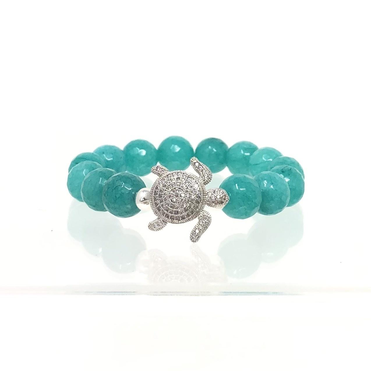 CZ Turtle & Teal Agate Bracelet