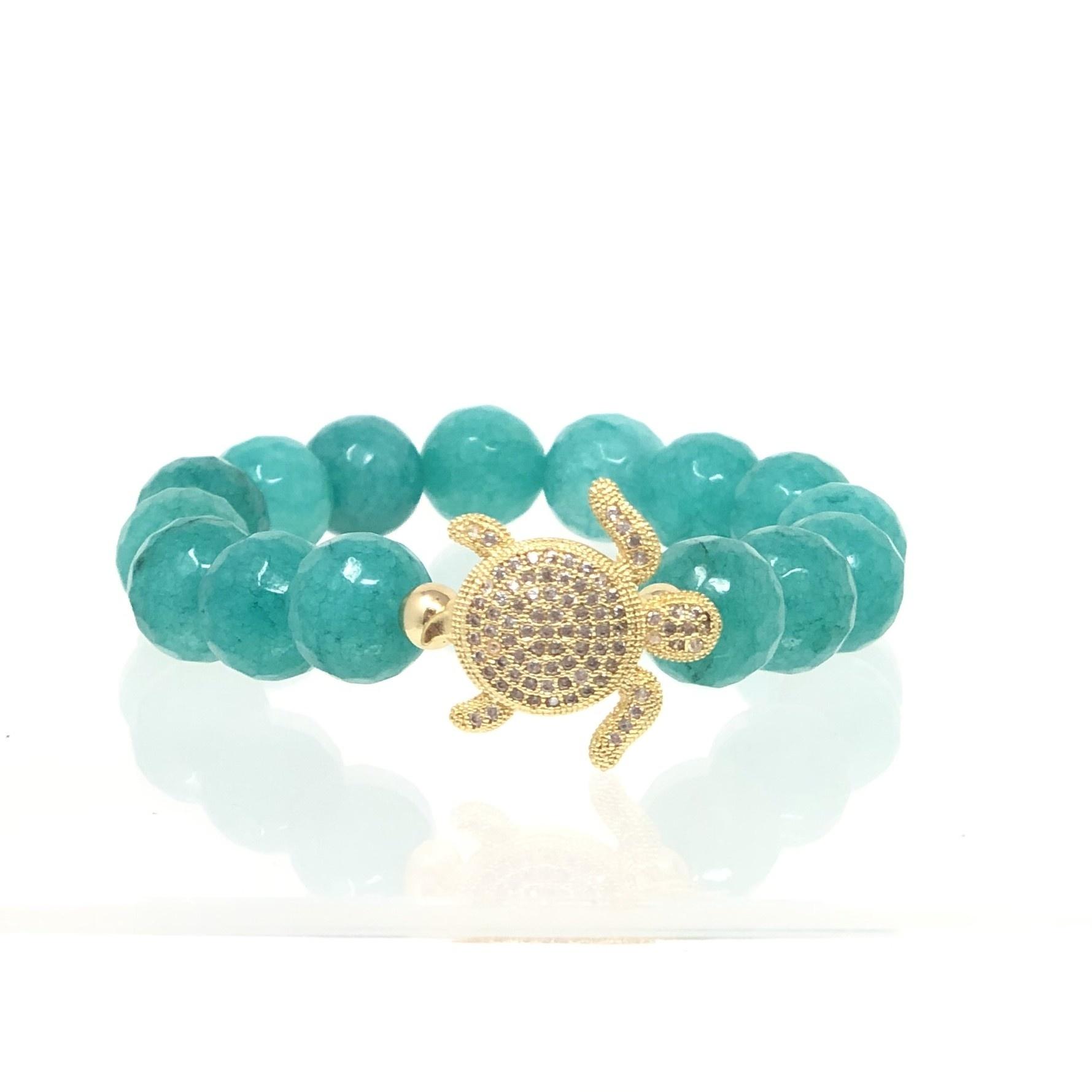 Gold CZ Turtle & Teal Agate Bracelet