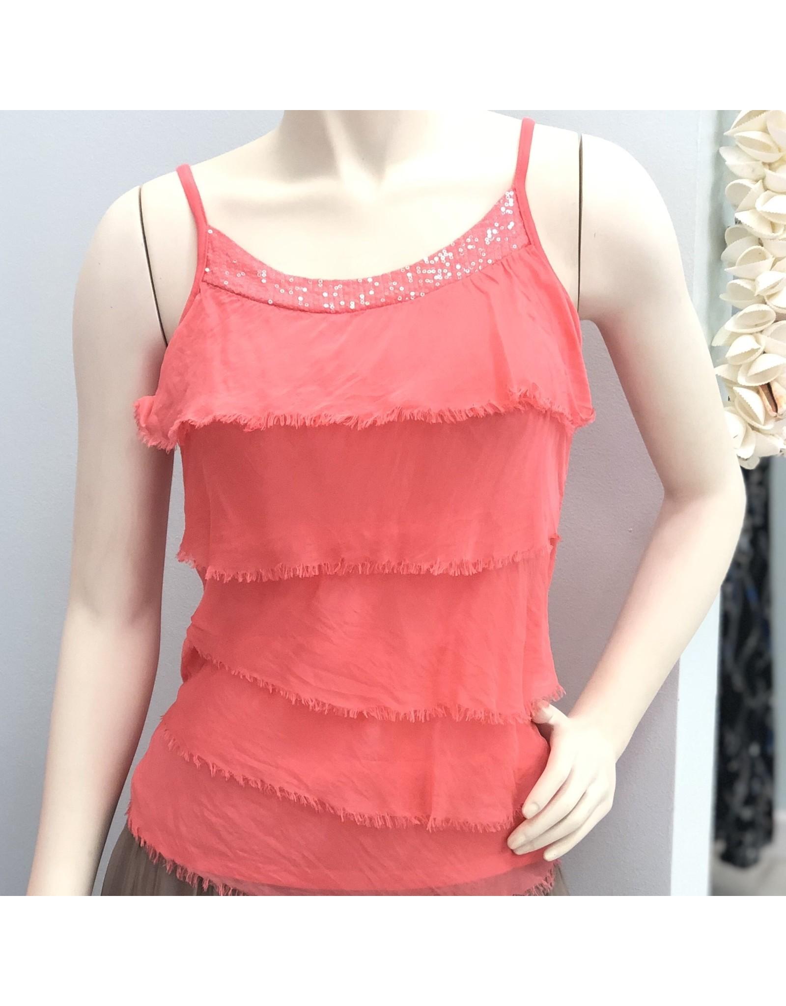 Coral Silk Sequin Layer Tank