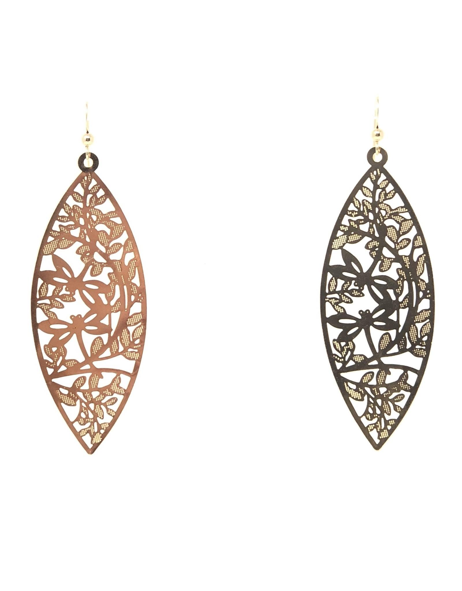 Gold Filigree Marquee Earrings