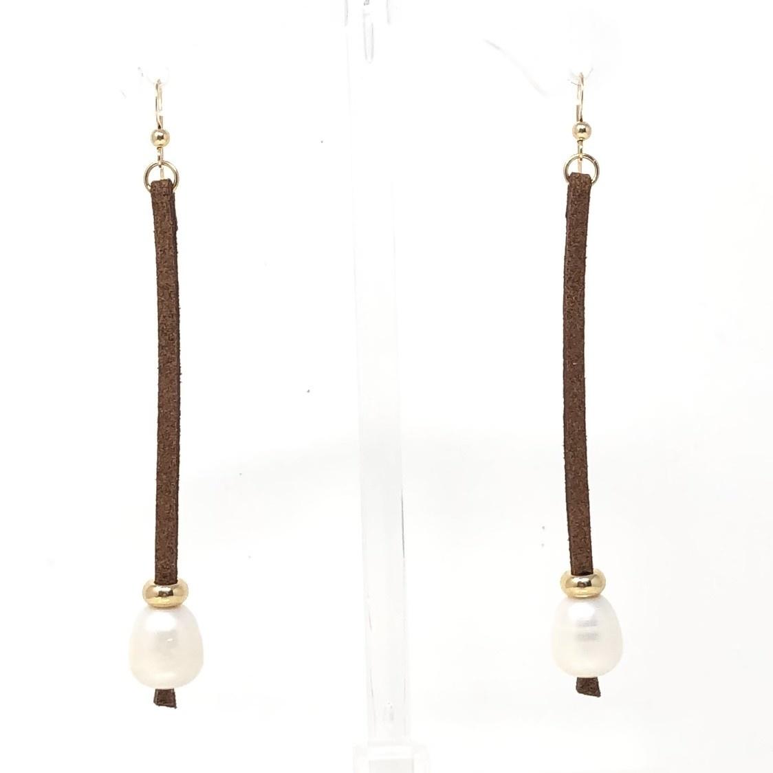 FWP & Chocolate Suede Drop Earrings