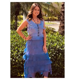 Periwinkle Ombre Flutter Maxi Dress