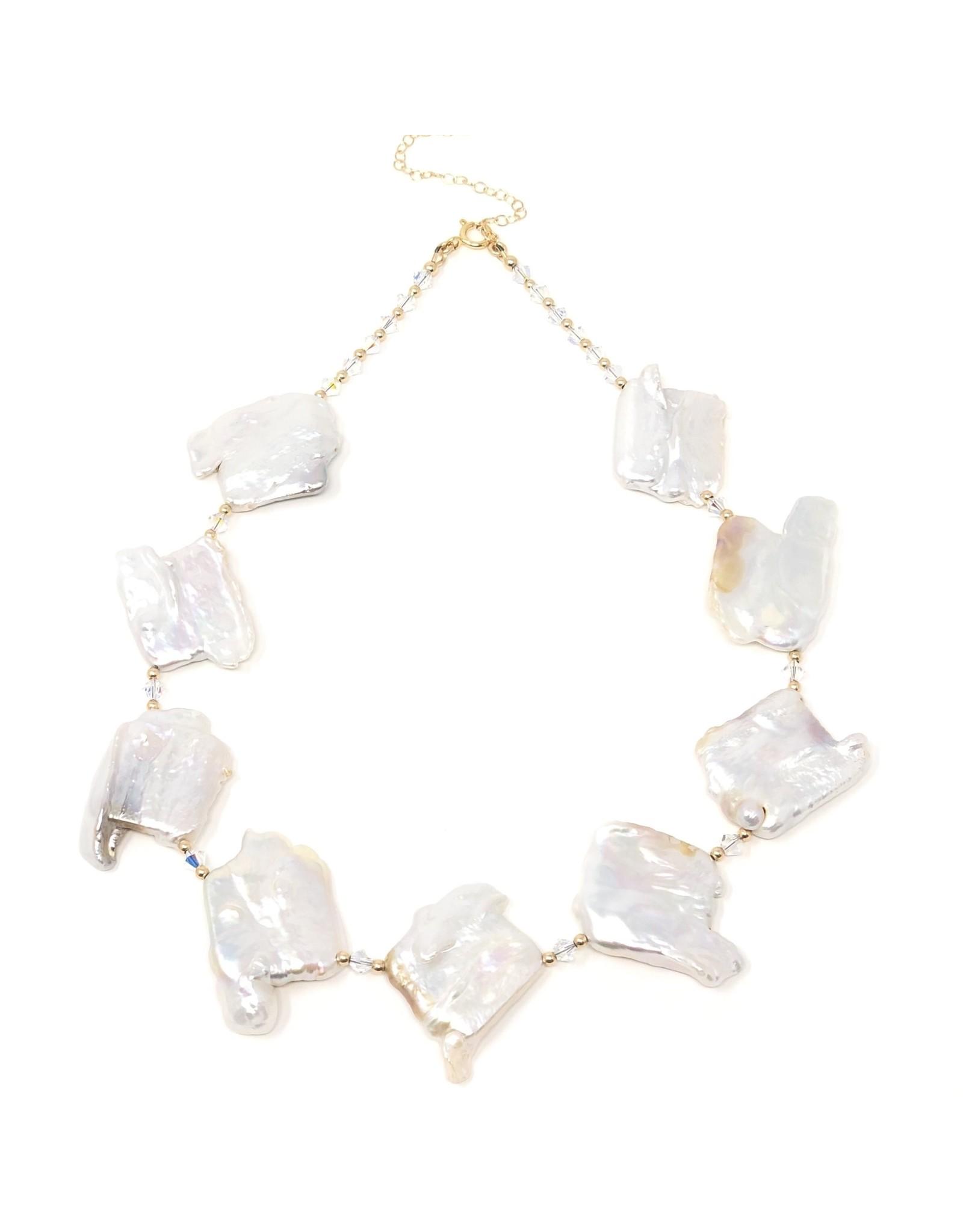 Keshi Pearl & Swarovski Crystal Necklace