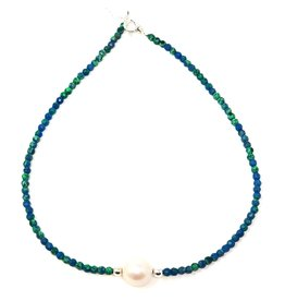 Chrysocolla & Baroque Pearl Necklace